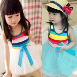 Mädchen Prinzessin Sommerkleid Rock Kinder Stripe Tutu Puffy Kleid 1 6year