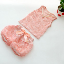 Infant Baby Girl Summer Flower T-Shirt Tops+Pants+Necklace Outfit