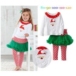 Kid Baby Girl Christmas Santa Long Sleeve Top + Pants Outfit Set