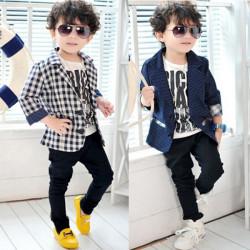 Kid Children Boy Outwear Formal Check Plaid Dots Jacket Coat 3-8Y