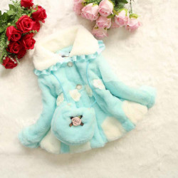 Kids Baby Girls Fur Outerwear Flower Bag Cotton-padded Warm Coat