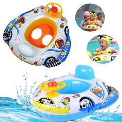 Barn Bebis Uppblåsbar Pool Seat Flytande Båt Simning Wheel Horn