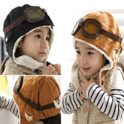 Kids Boys Girls Warm Pilot Winter Cap Earmuff Ear Protector Hat