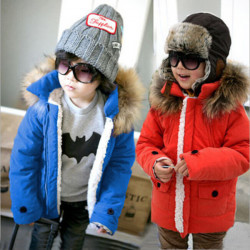 Kids Boys Wool Pockets Thick Coat Winter Outerwear Clothing