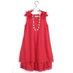 Kids Girl Chiffon Lace Flower Bowknot Gown Dress Pearl Necklace