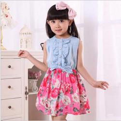 Kindermädchen Denim Blue Schöne bowknot Cowboy Sommerkleid Kleid