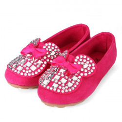 Kids Girls Sparkle Rhinestone Bow Sneakers Shoes