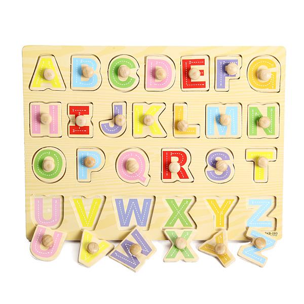 Knob Wooden Letter Alphabet Peg Puzzle Kids Education Toy Baby & Mother Care