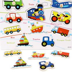 Knob Wooden Vehicle Cognitive Puzzle Kids Education Toy