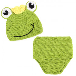 Lovely Animal Crown Frog Deaign Nursling Babies Photography Prop Suits