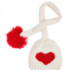 Lovely Red Pompon Design Nursling Babies Photography Props Hat Caps