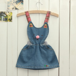 Lovely Toddler Girl's One Piece Jeans Denim Dress Cartoon Skirt
