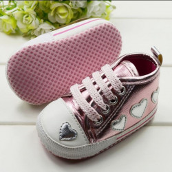 Pink Love Peach Toddler Shoes Silver Sequins Baby Shoes