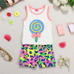 Summer Baby Boy Girl Sleeveless Lollipops Bowknot Vest Outfit Sets Baby & Mother Care