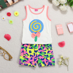 Summer Baby Boy Girl Sleeveless Lollipops Bowknot Vest Outfit Sets