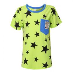 Summer Kid Children Boy Cotton Five Star Pattern T-shirt Clothing