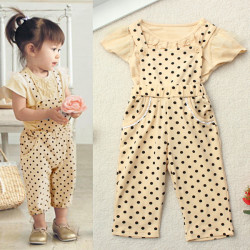 Summer Toddler Baby Girl Pokla Dot Outfit Set Ruffle Top+Pant Jumpsuits