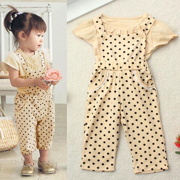 Sommaren Spädbarn Baby Flicka Pokla Dot Outfit Set Ruffle Top + Pant Overalls Barnprodukter