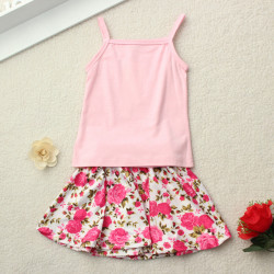Summer Toddler Baby Girl T Shirt Solid Vest+Flower Skirt Outfits