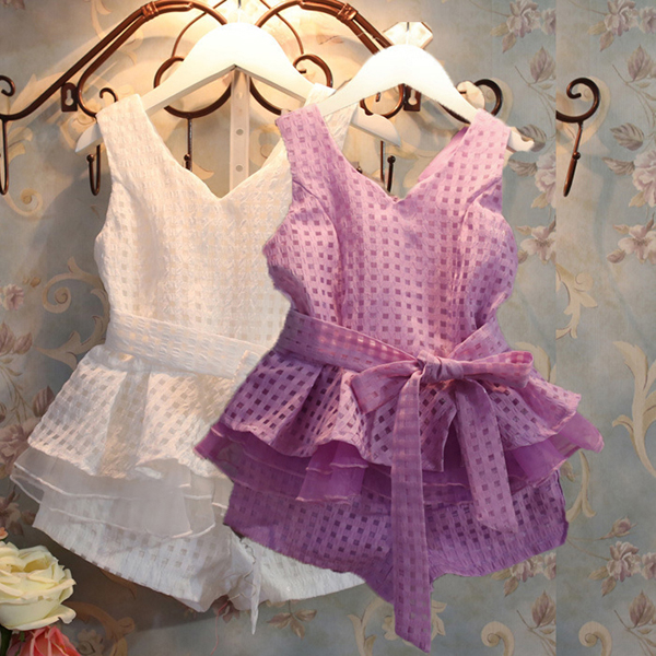 Småbarn Flickebarn Klänning Ställer Outfits 2st Top + Byxor + Belt Barnprodukter