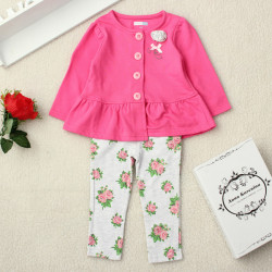 Toddler Girls Long Sleeve Tops Cardigan Floral Printing Leggings Sets