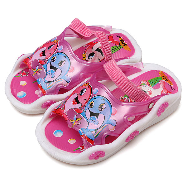 Twinkling Child Slippers Dolphin Anti-slip Squeaky Sandal Cartoon Baby & Mother Care