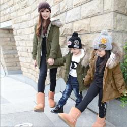 Damer Barn Zip Huva Tjock Ull Vinter Overcoat Lång Jacket