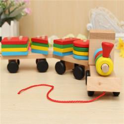 Wood Puzzle Train Toys Geometric Building Blocks Education Gift