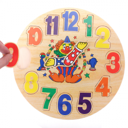 Wooden  Educational Movable Clown Clock Puzzle Toy