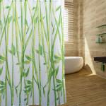 180 * 180cm Kinesisk Stil Bamboo Forest Vattentät Duschdraperi Badrum