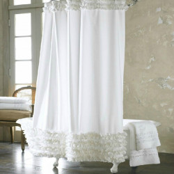 180*180cm White Elegant Lace Waterproof Moldproof Shower Curtain