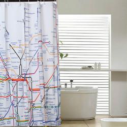 180x180cm Subway Tube Map Duschdraperi Badrum Vattentätt Tyg