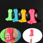 2pcs Cute Cartoon Stereoscopic Strong Suction Cup Toothbrush Holder Bathroom