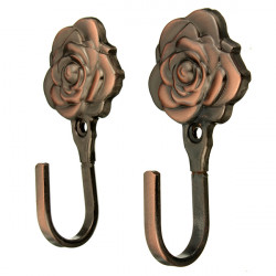 2pcs Metal Rose Flower Curtain Tie Back Tieback Holders Wall Hooks
