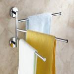 3-Arm Aluminium Towel Rack Wall Mounted Bathroom Swivel Bars Hanger Bathroom