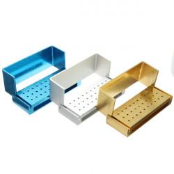 30 Holes Aluminium Dental Bur Box FG Burs Holder Block Case