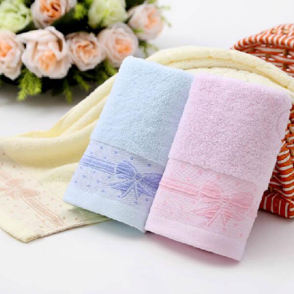 34*74cm Cotton Bowknot Print Towel Plain Colour Bath Towels Bathroom