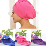 4 Colors Hair-drying Towel Double Side Coral Fleece Dry Hair Hat Bathroom