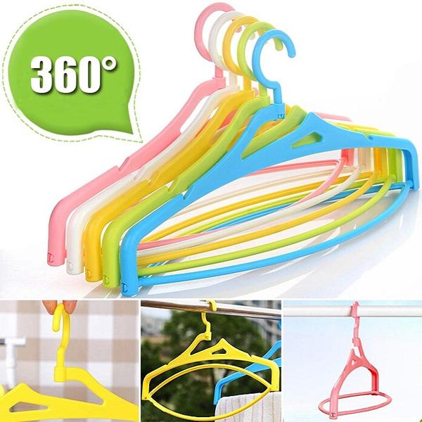 5pcs Multifunction Stereo Rotating Hanger Plastic Laundry Rack Bathroom
