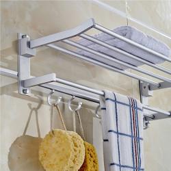 Alumimum Vikta Silver Bad Towel Uppställning Disktrasa Rack Hållare Med 5 Hooks