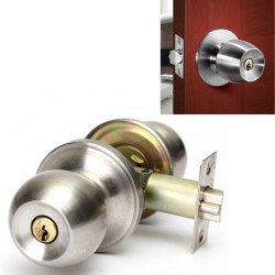 Bathroom Door Lock Stainless Steel Cylinder Round Knob Door Handle