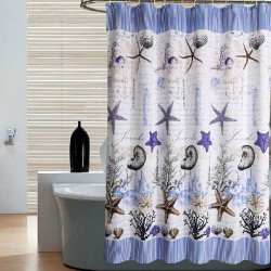 Bathroom Ocean Star Waterproof Polyester Thicker Shower Curtain