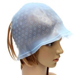 Blå Genanvendelig Silikone Salon Hår Fremhævning Cap Hairdressing Værktøj