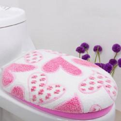 Coral Fleece Pink Hjerte Form Closestool Måtte Toiletsæde Cover Twinset