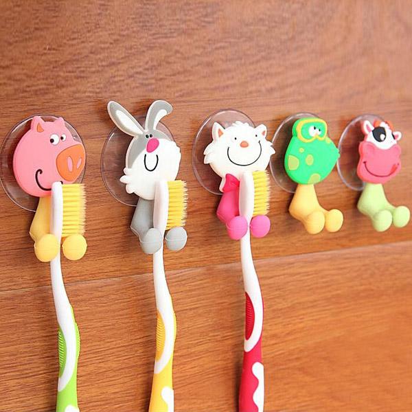 Creative Cute Cartoon Animal Powerful Sucker Toothbrush Holder Bathroom
