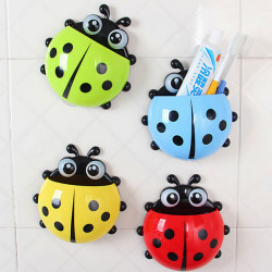 Cute Pocket Ladybug Wall Suction Toothbrush Holder Bathroom Hanger