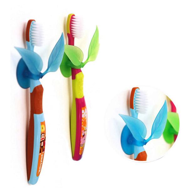 Multifunction Suction Leaf Shape Toothbrush Shaver Sundries Holder Bathroom