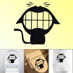 Removable Crazy Cat Pattern Toilet Sticker Bathroom Decoration Bathroom