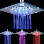 Square 7 Color  LED Light Rain Shower Head Automatic Sprinkler Bathroom