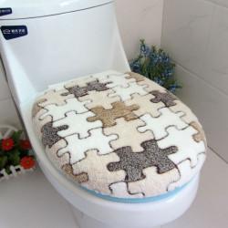 Zweiteiliger korallenrote Vlies warme weiche Outfit Toilettensitzbezug Set